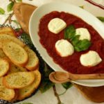Baked Goat Cheese and Tomato Sauce with Crostini