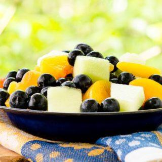 Summer Fruit Salad with Ginger-Lime Dressing for #BlueberryToss #FWCon
