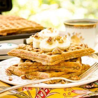 Spiced Banana Nut Waffles for #SundaySupper